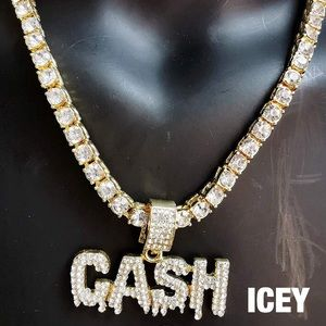 18K Faux Diamond Dripping Cash Tennis Chain